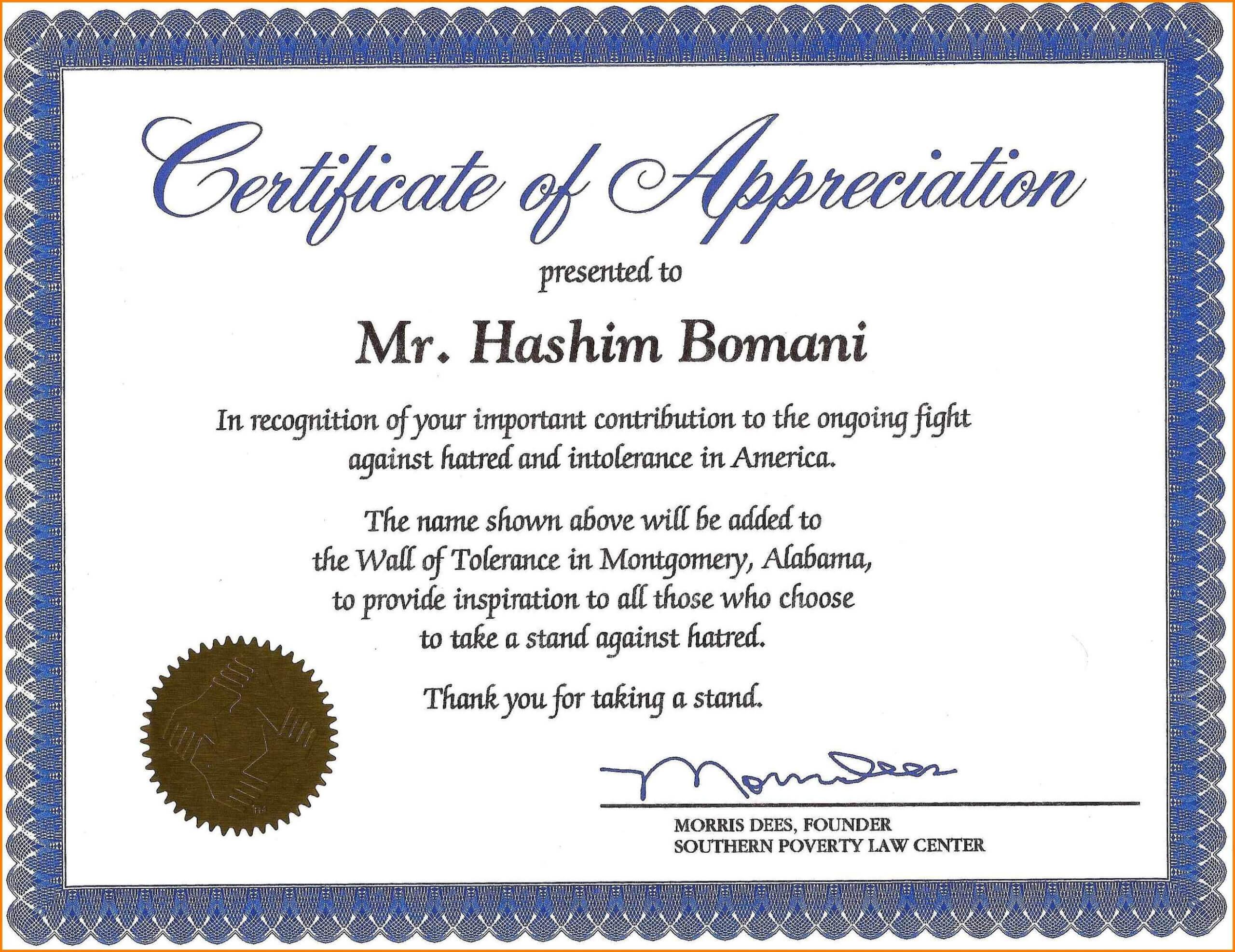 Certificate Of Recognition Wording Copy Certificate With Regard To Volunteer Award Certificate Template