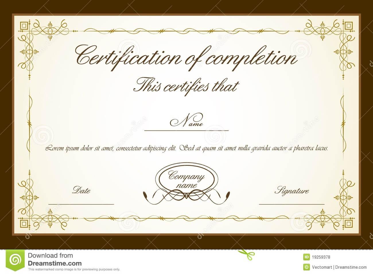 Certificate Template Stock Vector. Illustration Of For Certificate Templates For Word Free Downloads
