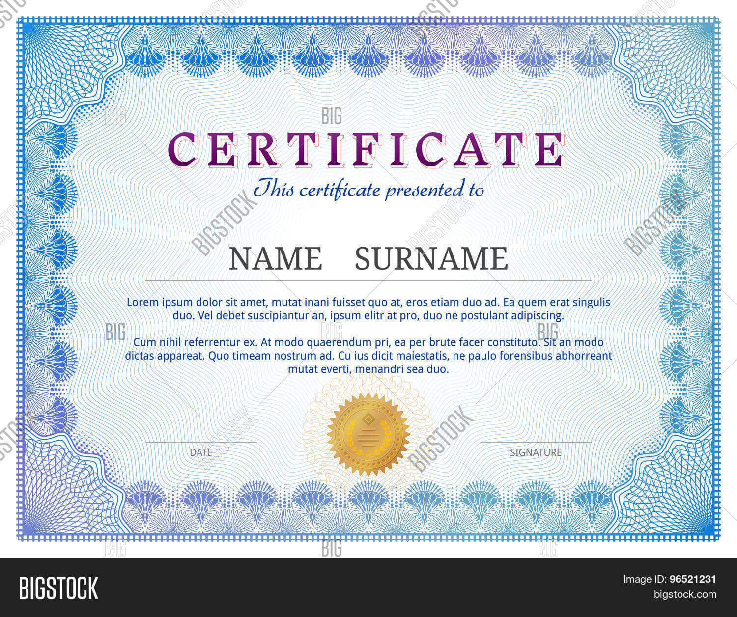 Certificate Template Vector & Photo (Free Trial)   Bigstock Within Validation Certificate Template