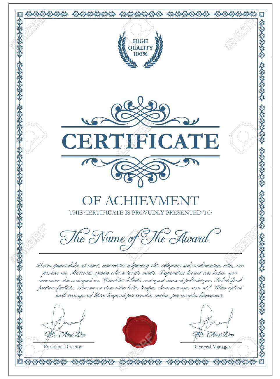 Certificate Template With Guilloche Elements. Blue Diploma Border.. For Validation Certificate Template