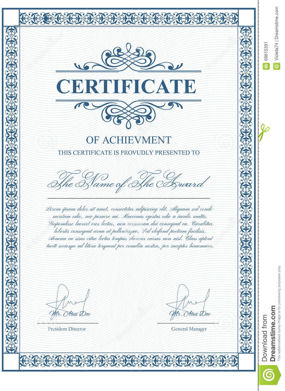 Certificate Template With Guilloche Elements. Stock Vector Inside Validation Certificate Template