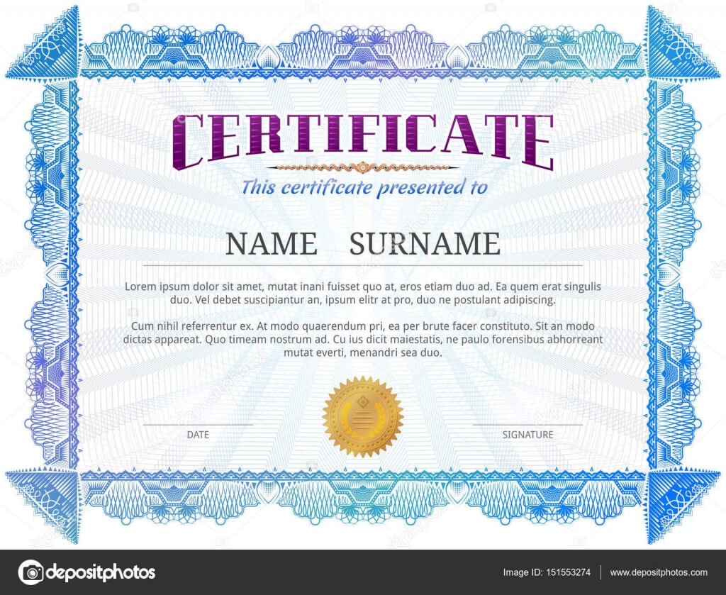 Certificate Template With Guilloche Elements — Stock Vector With Validation Certificate Template