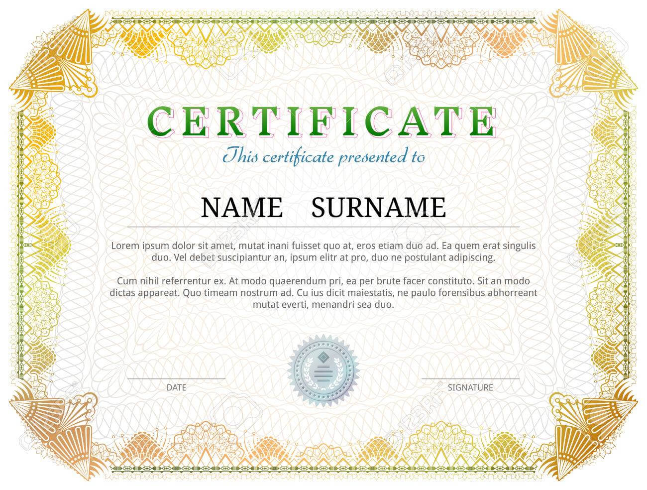 Certificate Template With Guilloche Elements. Yellow Diploma.. Inside Validation Certificate Template