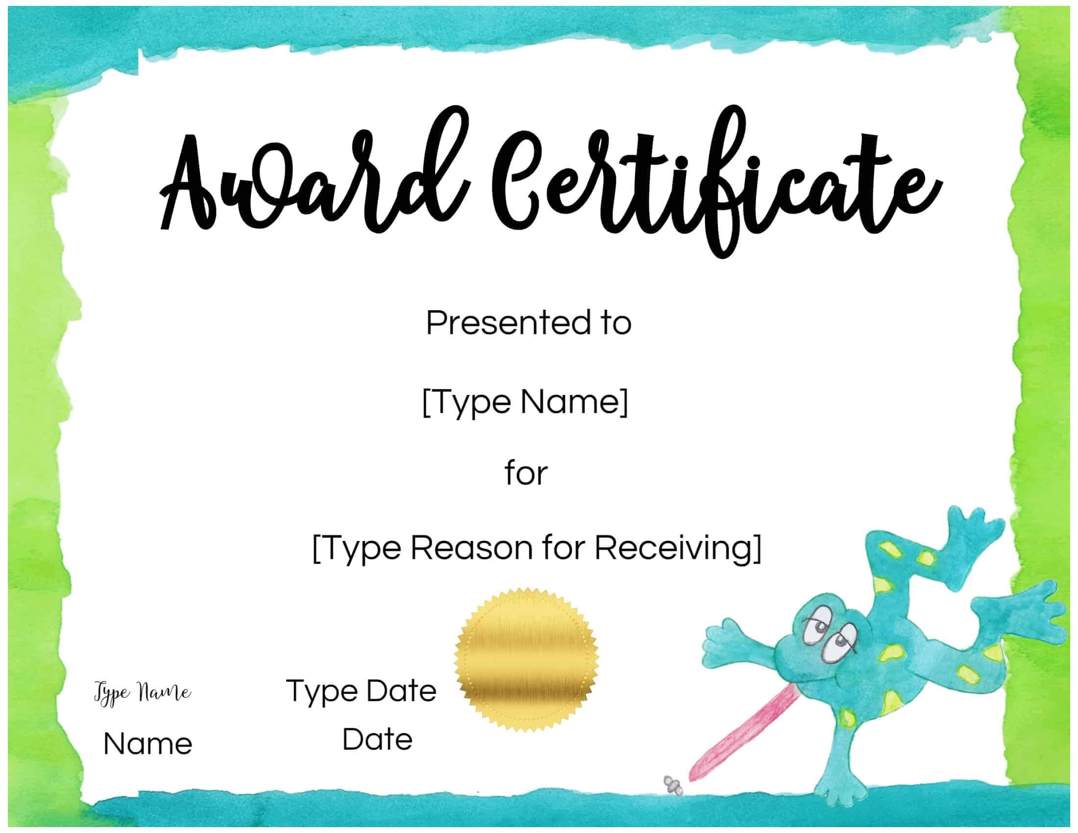 Certificates For Kids In Children's Certificate Template