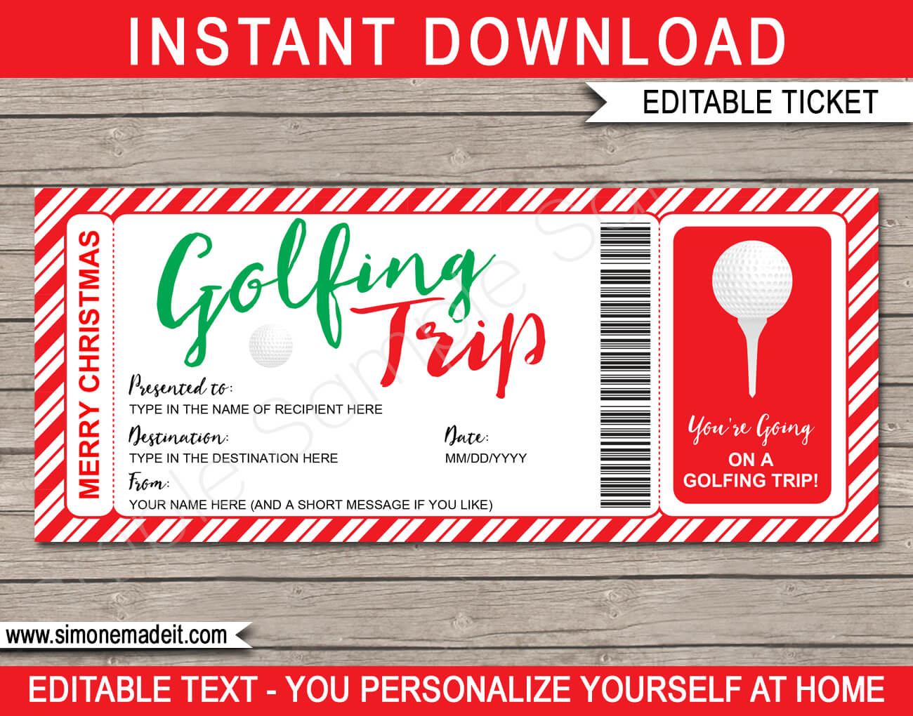 Christmas Golfing Trip Tickets Pertaining To Golf Gift Certificate Template