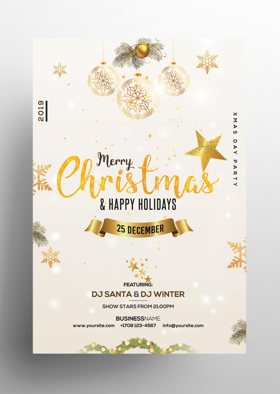 Christmas & Holiday – Free Invitation & Flyer Psd Template Inside Christmas Brochure Templates Free