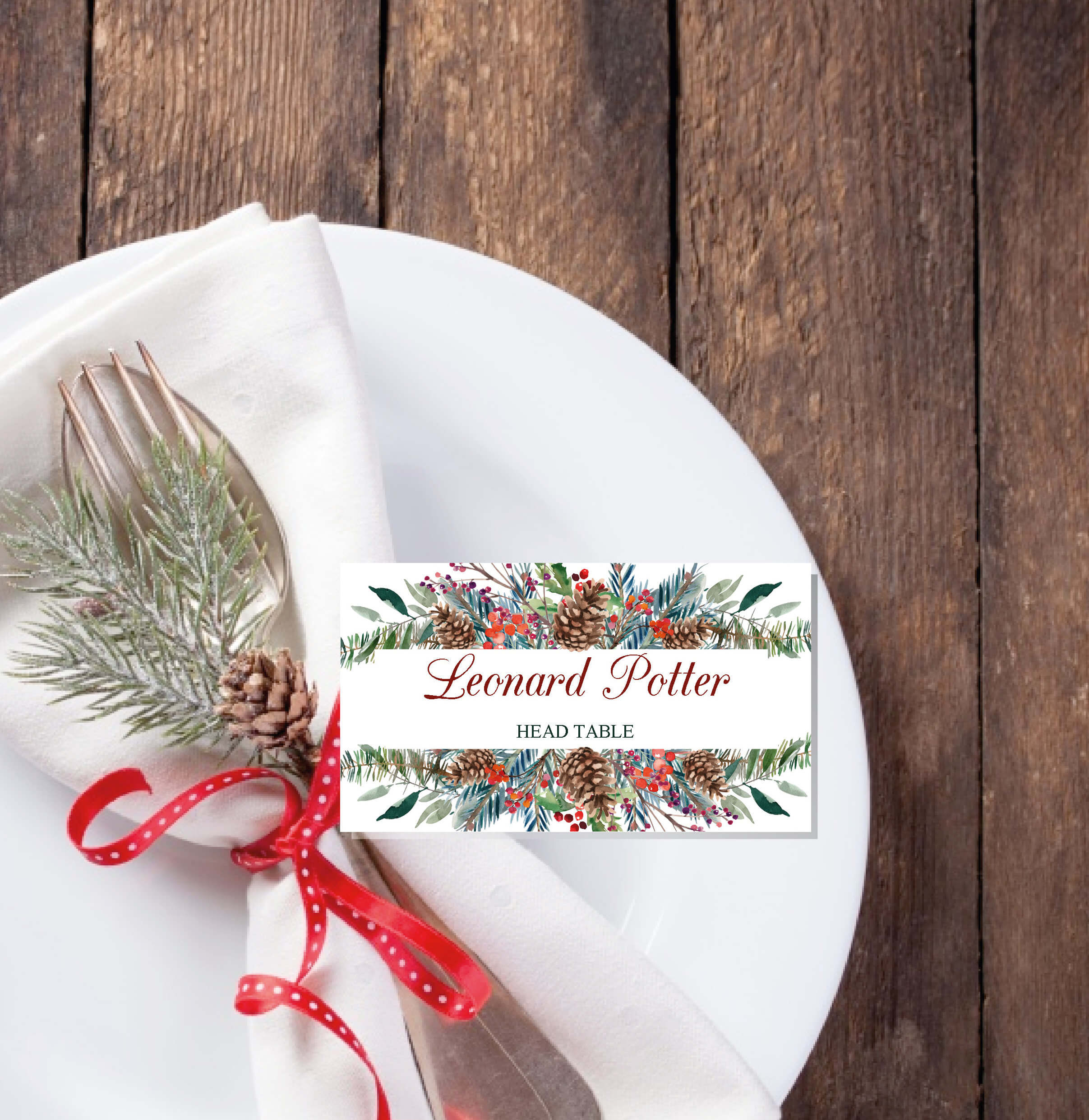 Christmas Place Cards Printable Template, Editable Names With Regard To Christmas Table Place Cards Template