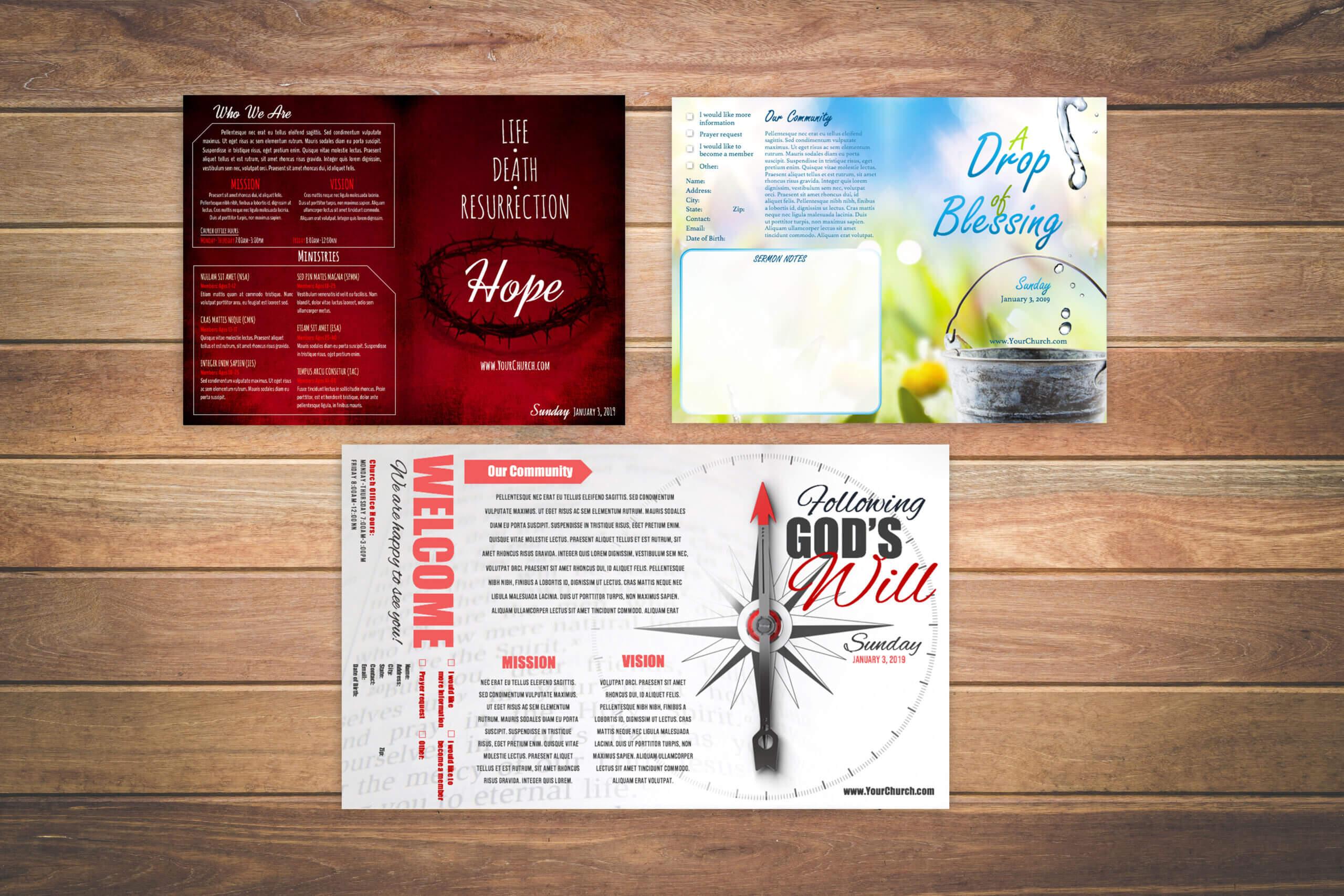 Church Bulletin Design Examples – Yeppe Regarding Free Church Brochure Templates For Microsoft Word