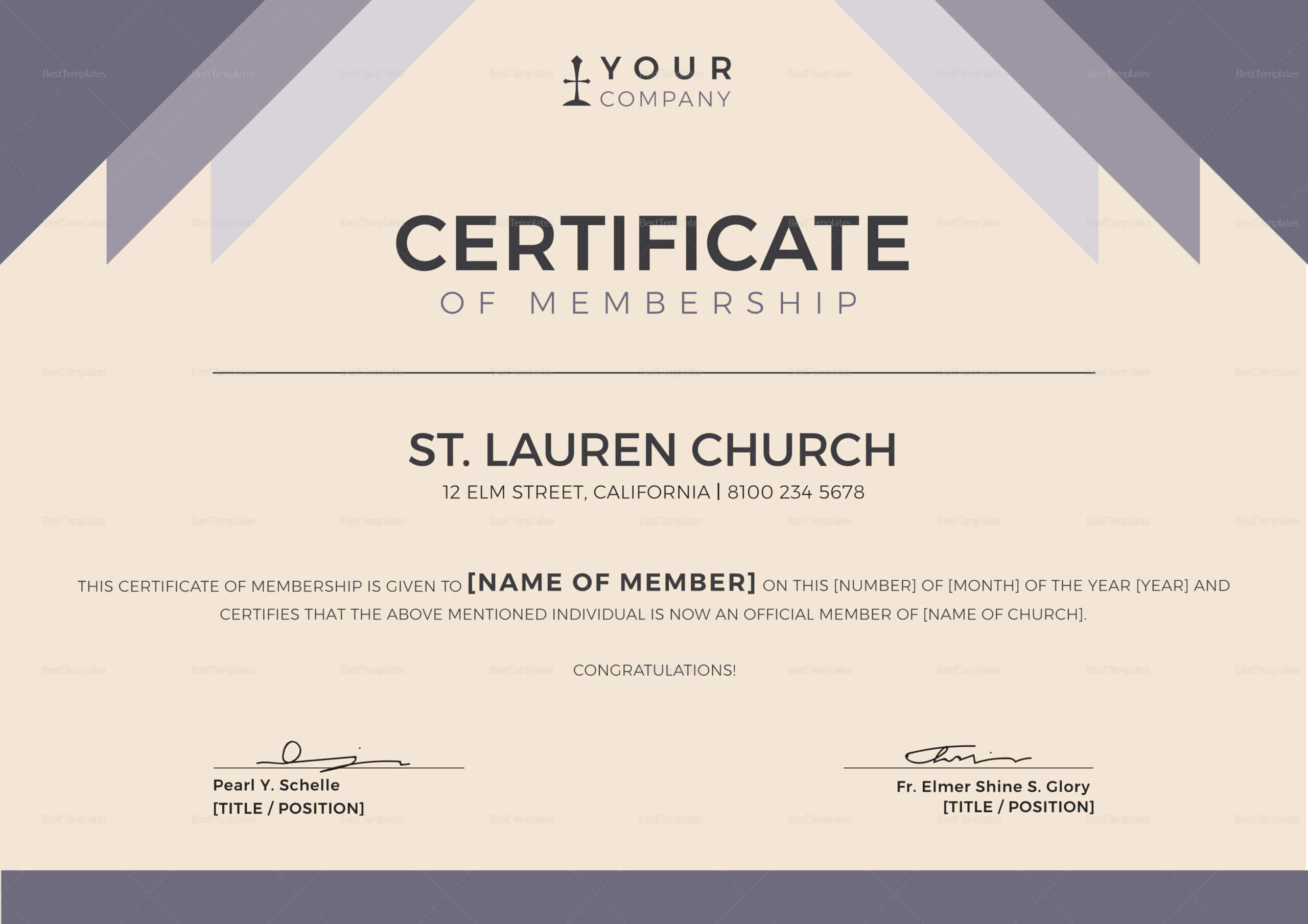 Church Certificates Templates – Dalep.midnightpig.co With Llc Membership Certificate Template Word