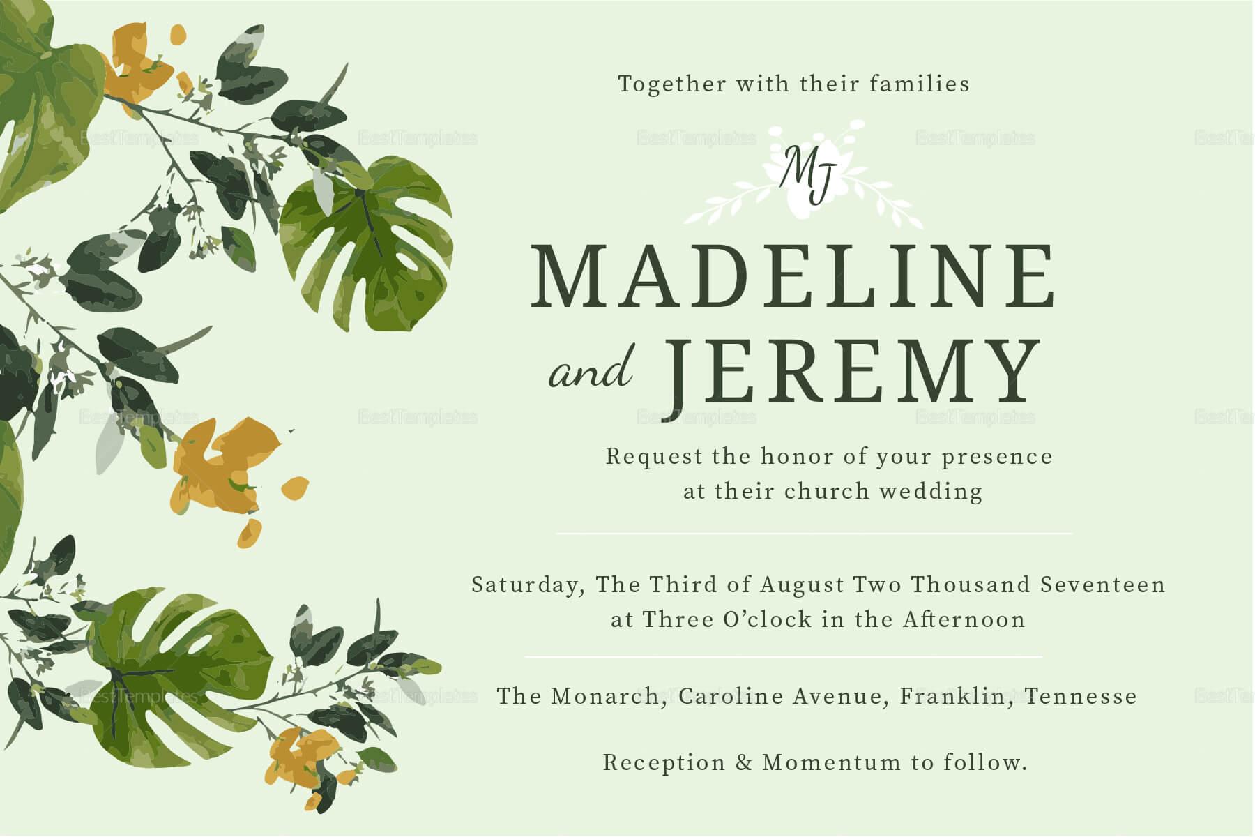 Church Wedding Invitation In Landscape And Portrait Inside Church Wedding Invitation Card Template