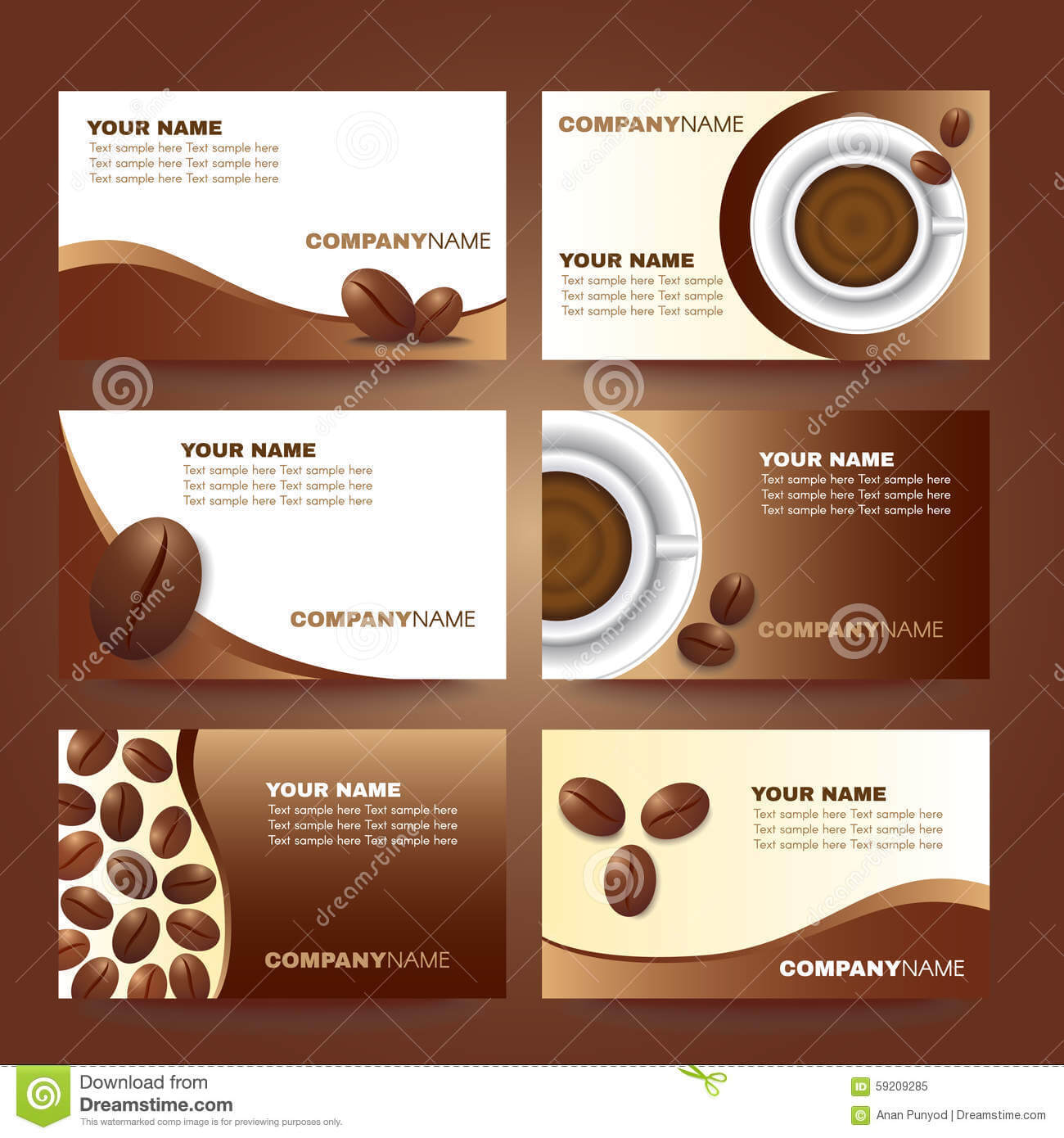 Coffee Business Card Template Vector Set Design Stock Vector In Coffee Business Card Template Free