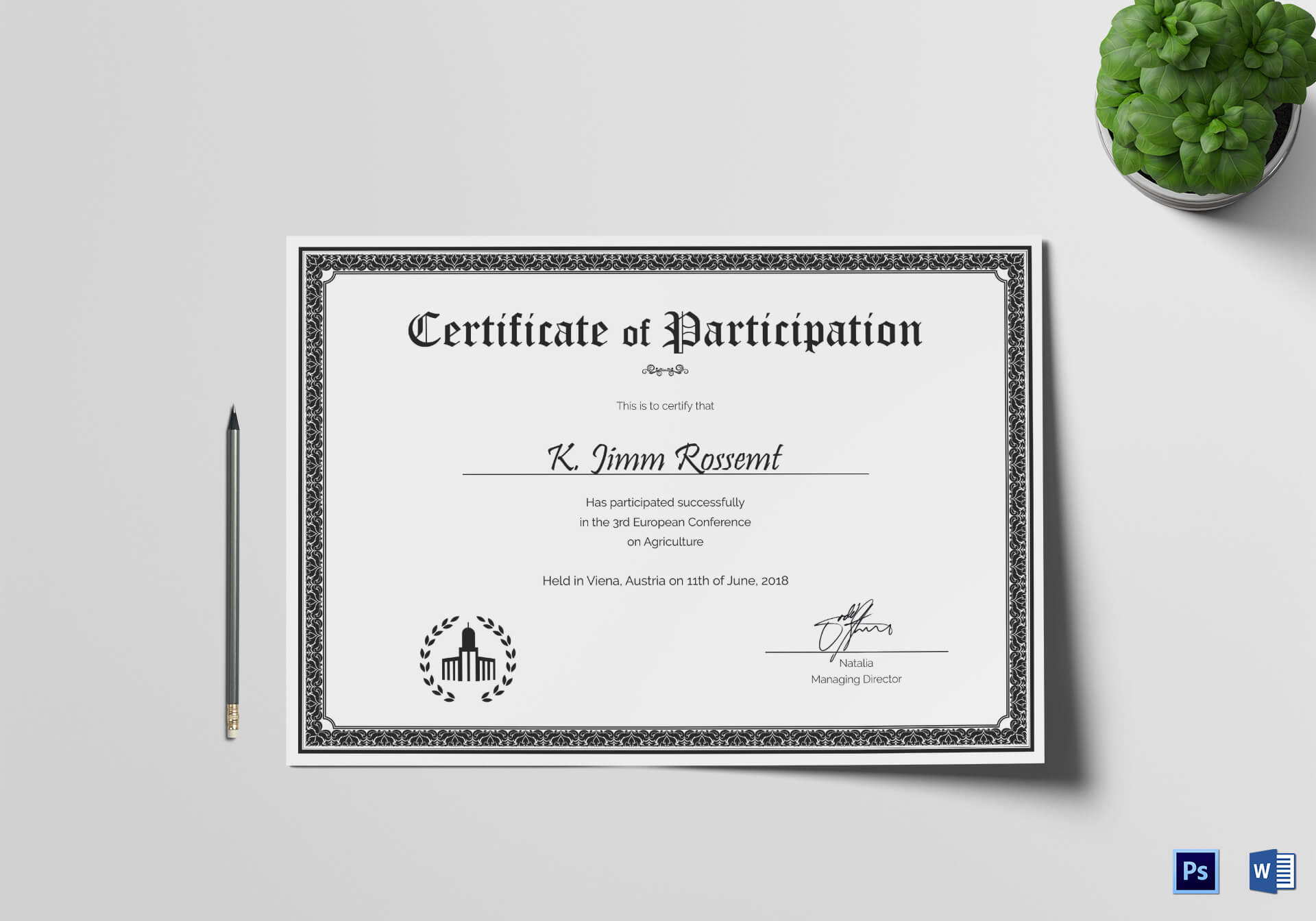 Conference Participation Certificate Template Within Conference Participation Certificate Template
