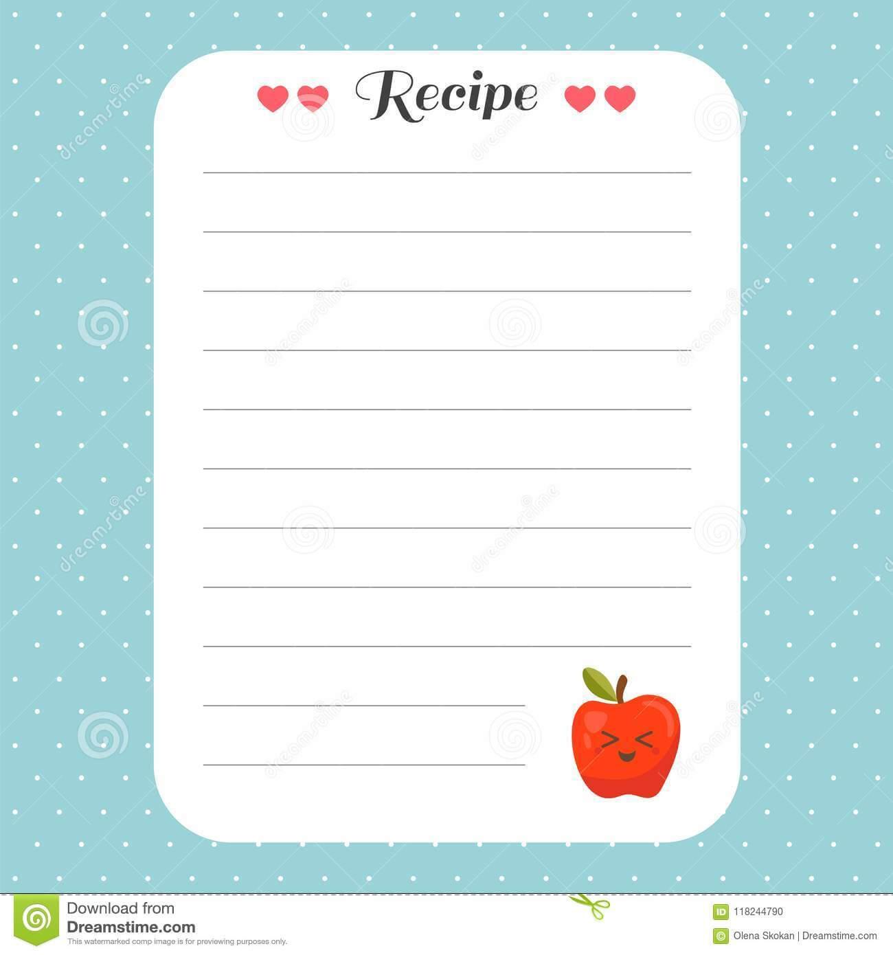 Cookbook Template Page. Recipe Card Template. For Restaurant Inside Restaurant Recipe Card Template