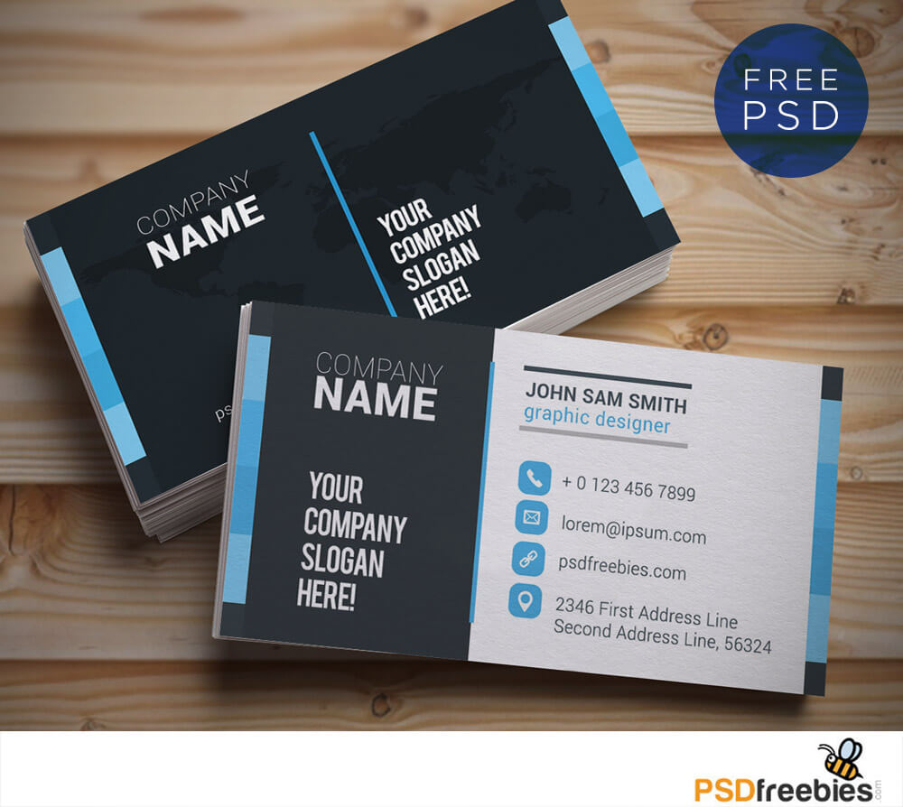 Creative And Clean Business Card Template Psd | Psdfreebies Inside Name Card Design Template Psd