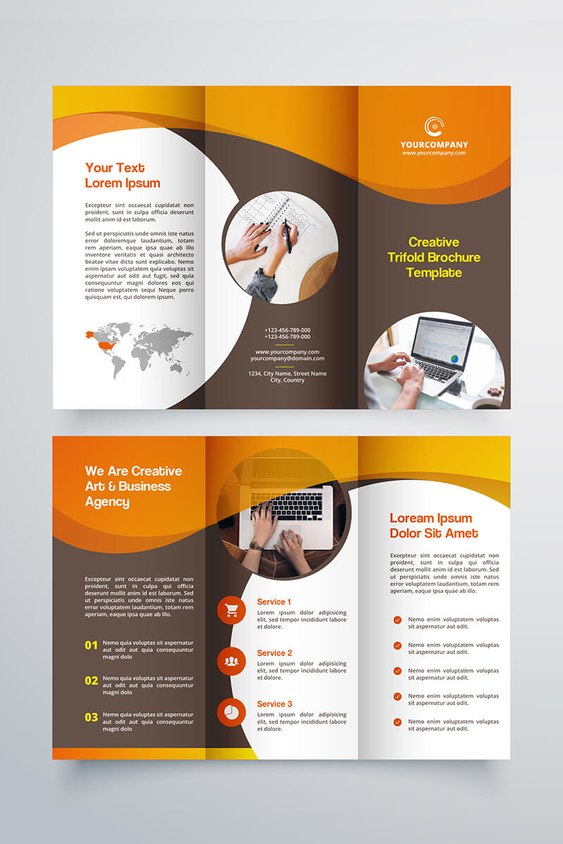 Creative Trifold Brochure Template. 2 Color Styles №80614 Throughout Three Panel Brochure Template