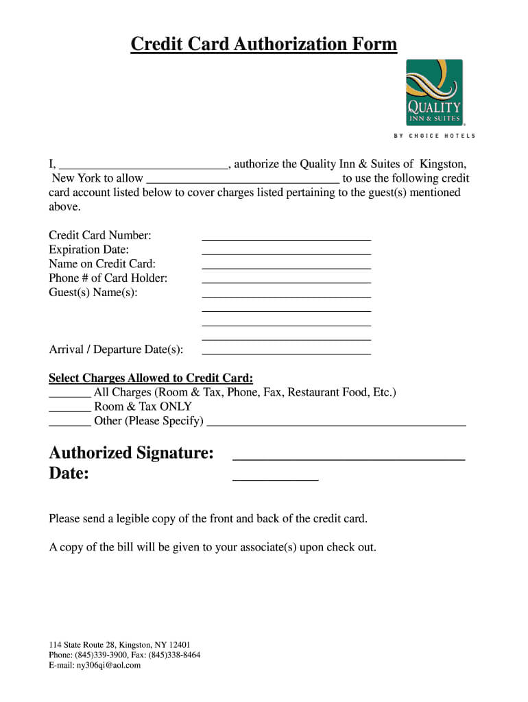 Credit Card Authorization Form Hotel – Fill Out And Sign Printable Pdf  Template   Signnow Regarding Hotel Credit Card Authorization Form Template