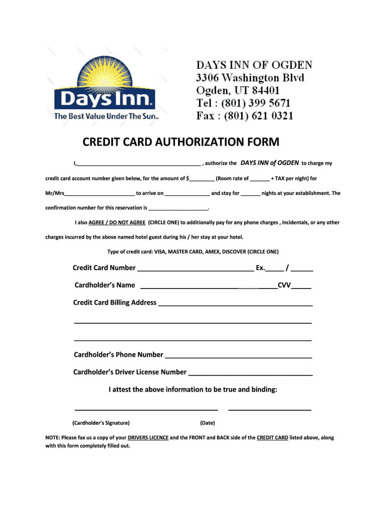 Credit Card Hotel Form – Fill Out And Sign Printable Pdf Template   Signnow With Regard To Hotel Credit Card Authorization Form Template