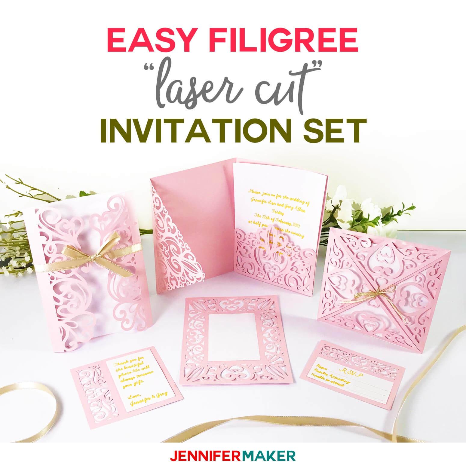 "Diy Wedding Invitation Templates – Free ""laser Cut"" Set For Pop Up Wedding Card Template Free"