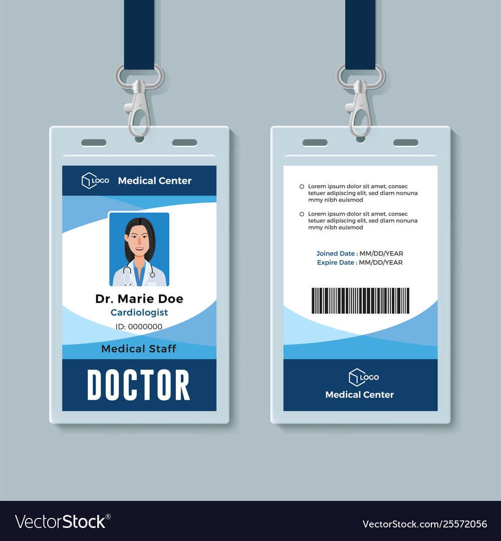 doctor id badge medical identity card design regarding