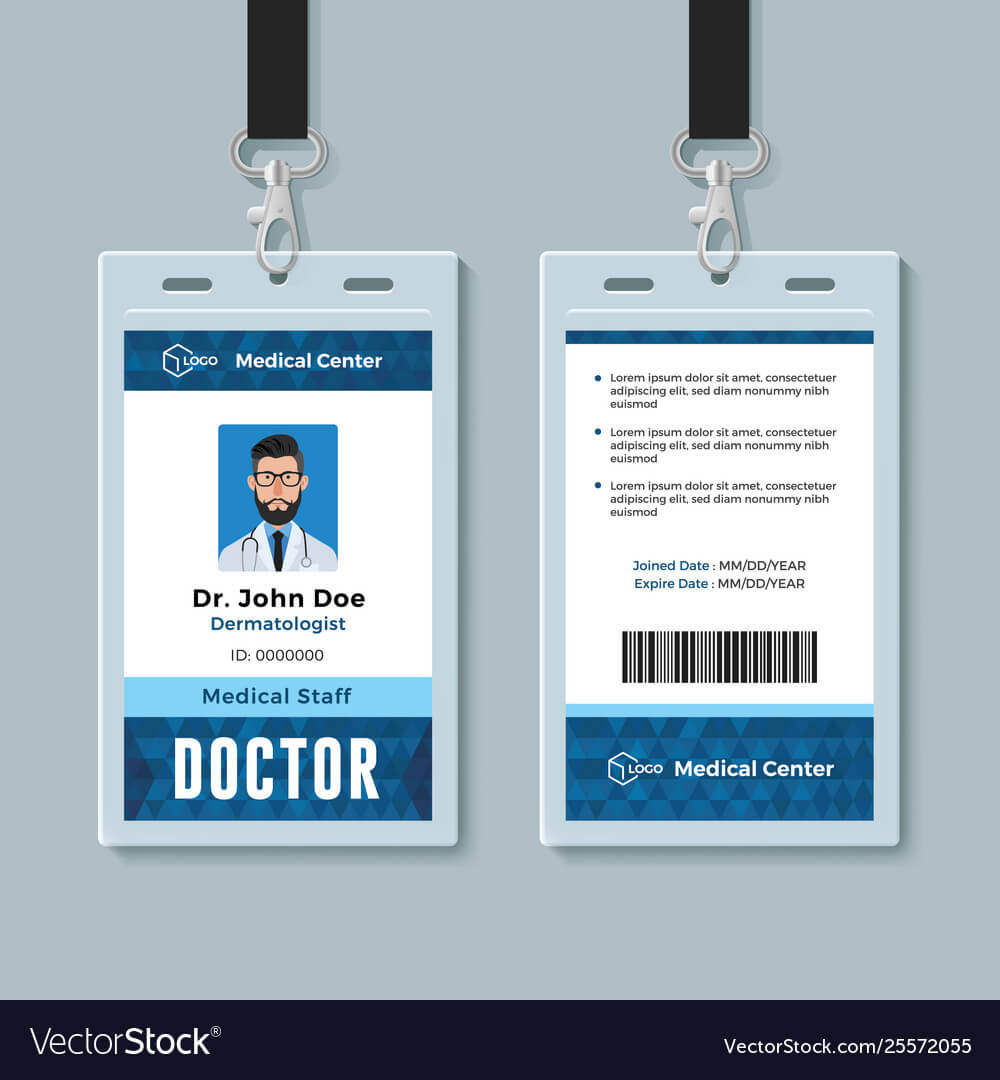 doctor id card medical identity badge design pertaining to