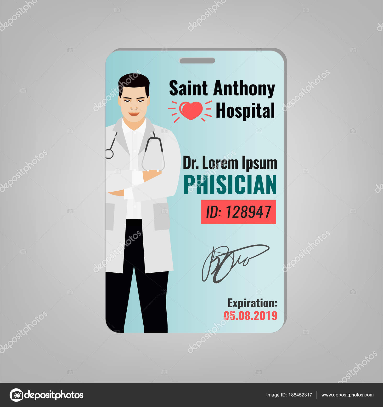 Doctor Id Card — Stock Vector © Annyart #188452317 Pertaining To Doctor Id Card Template