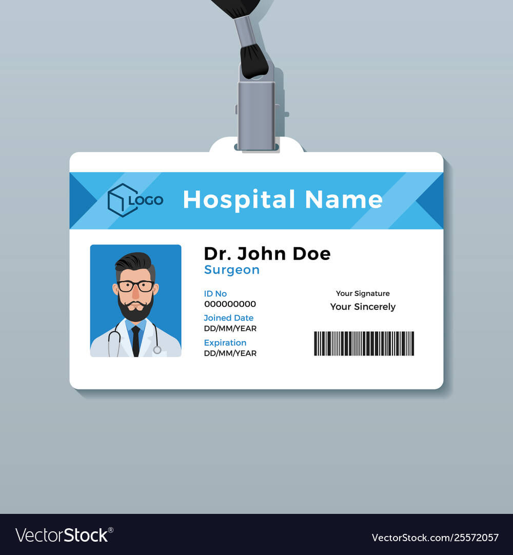 Doctor Id Card Template Medical Identity Badge With Regard To Personal Identification Card Template