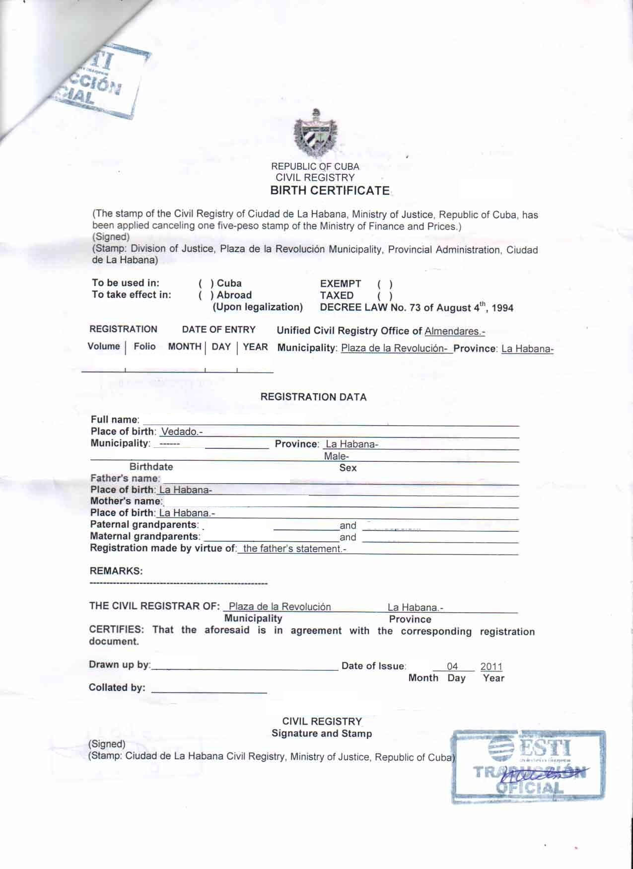 Document Translation - Cubacityhall Within Marriage Certificate Translation From Spanish To English Template