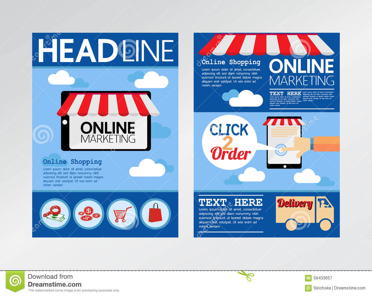 E Commerce Online Marketing Magazine Cover, Flyer Stock With Regard To Online Brochure Template Free