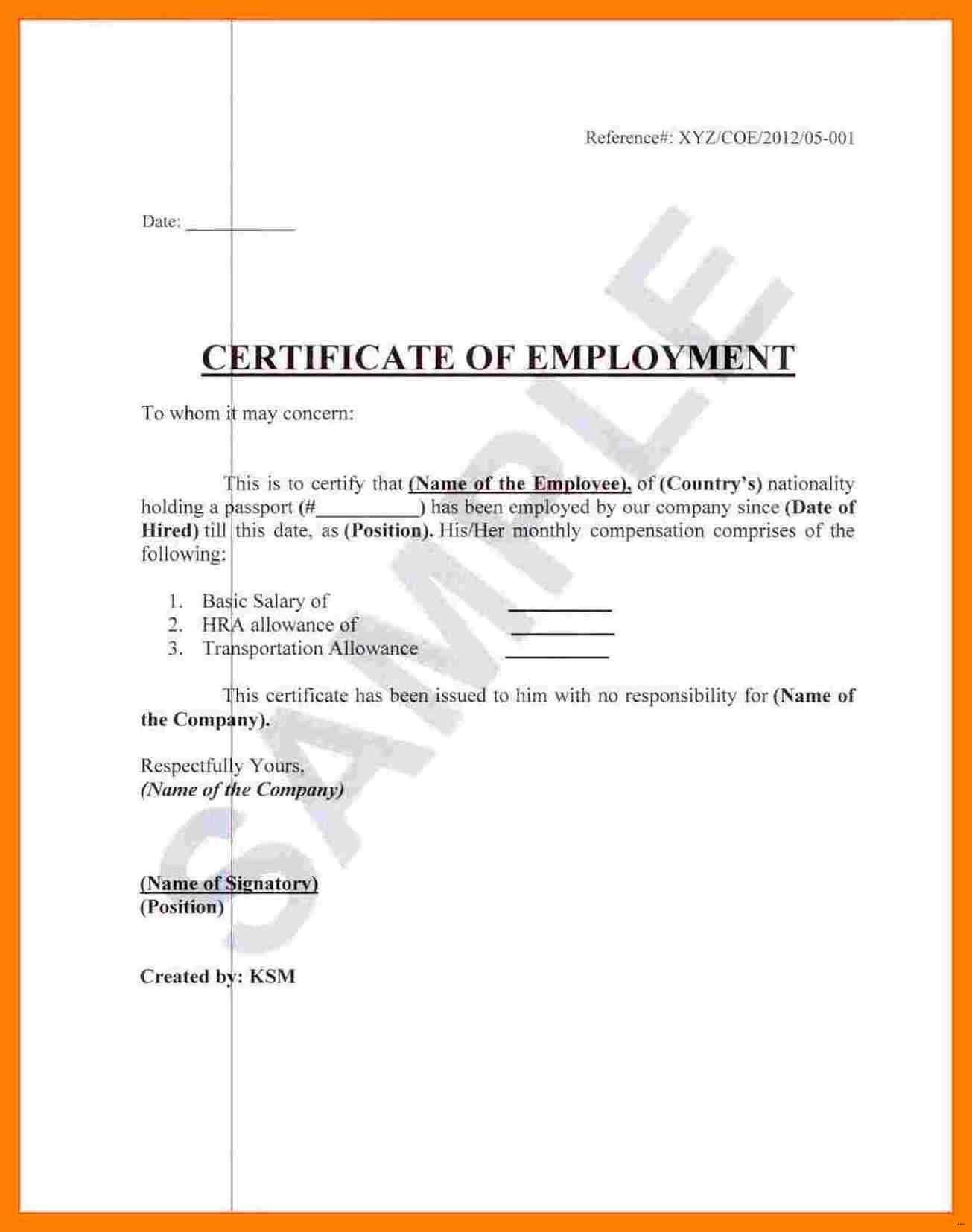 ❤️ Free Printable Certificate Of Employment Form Sample Intended For Sample Certificate Employment Template
