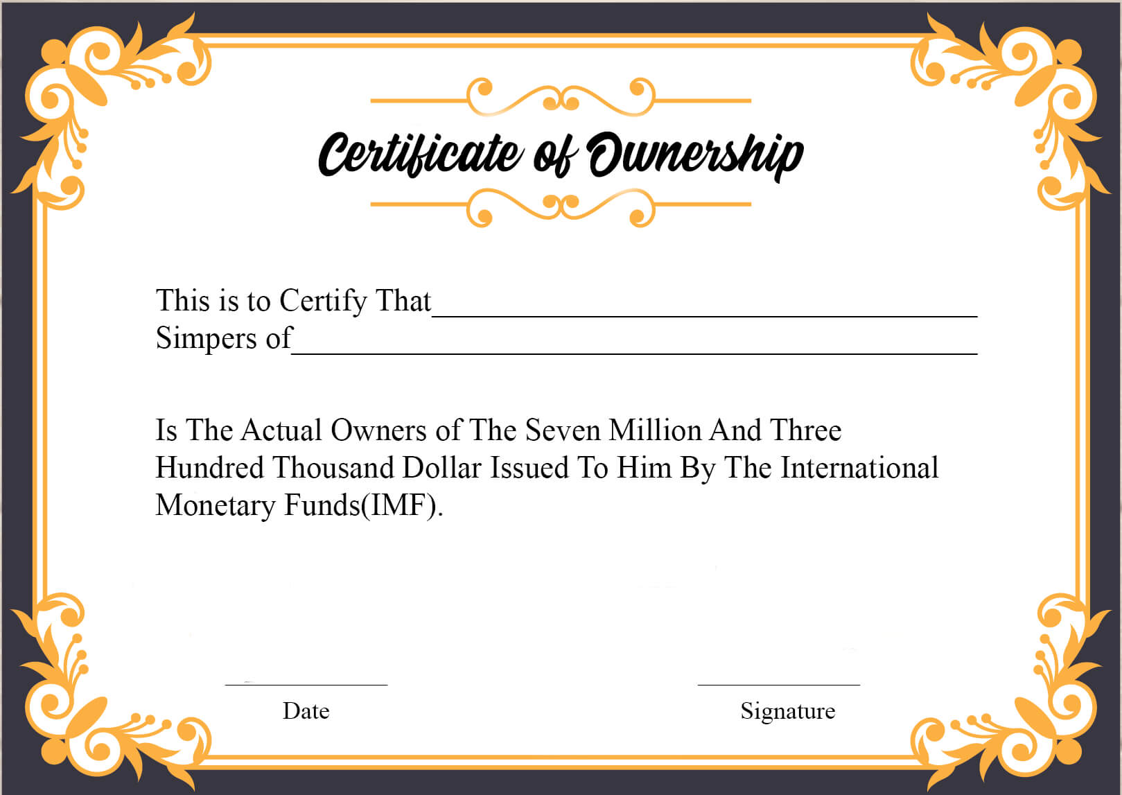 ❤️5+ Free Sample Of Certificate Of Ownership Form Template❤️ Pertaining To Ownership Certificate Template