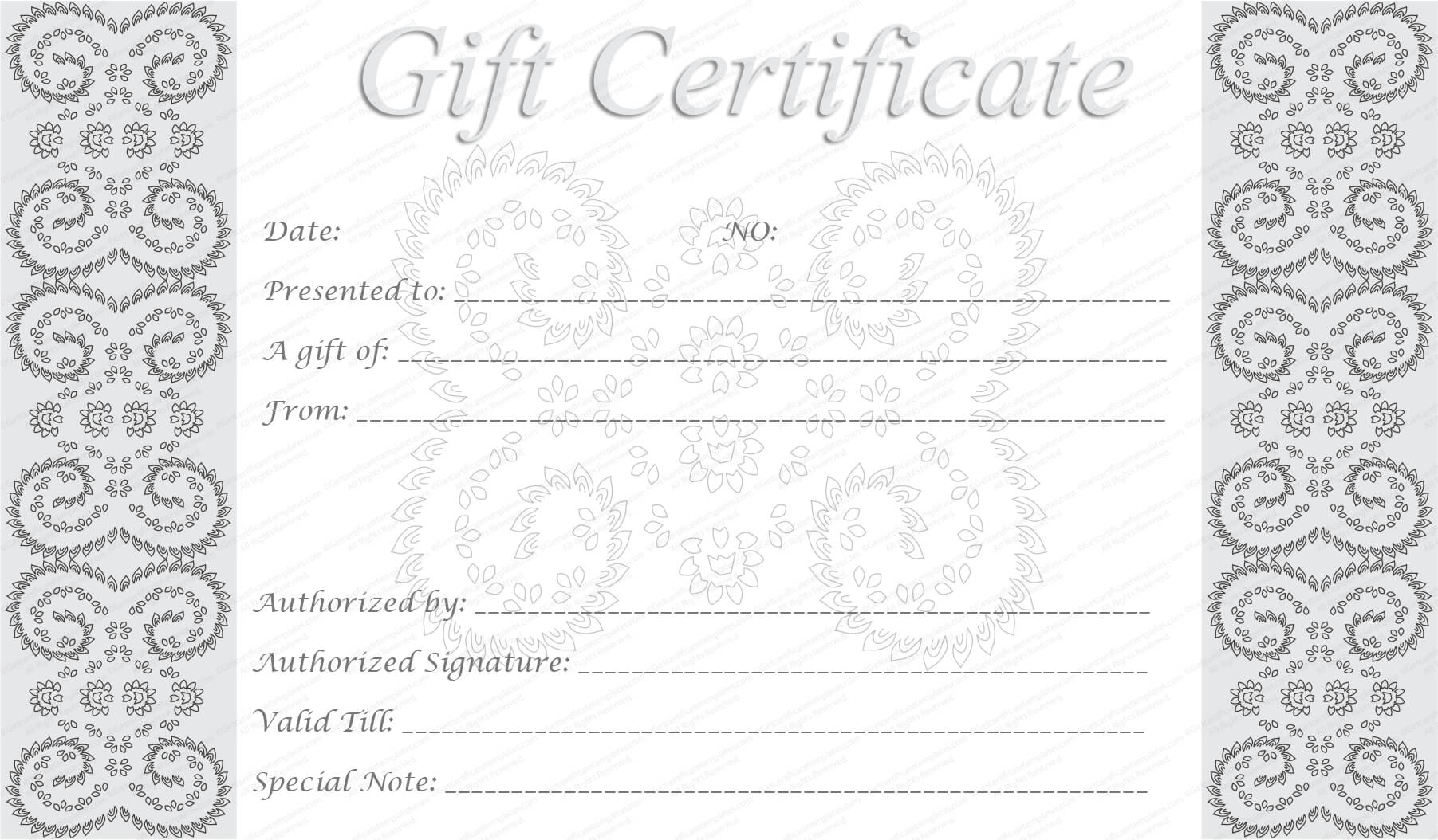Editable And Printable Silver Swirls Gift Certificate Template With Regard To Graduation Gift Certificate Template Free