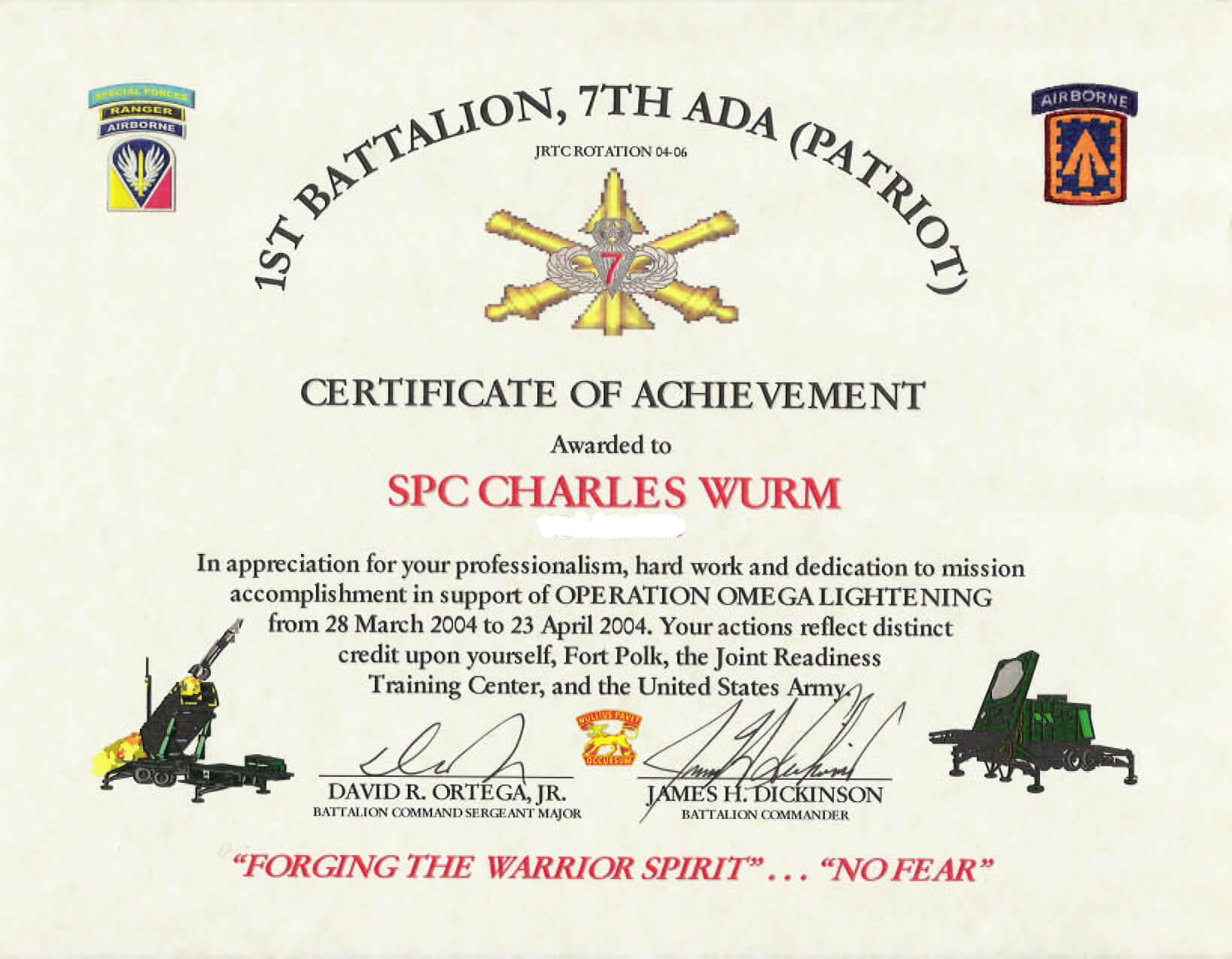 Education / Awards Regarding Army Certificate Of Appreciation Template