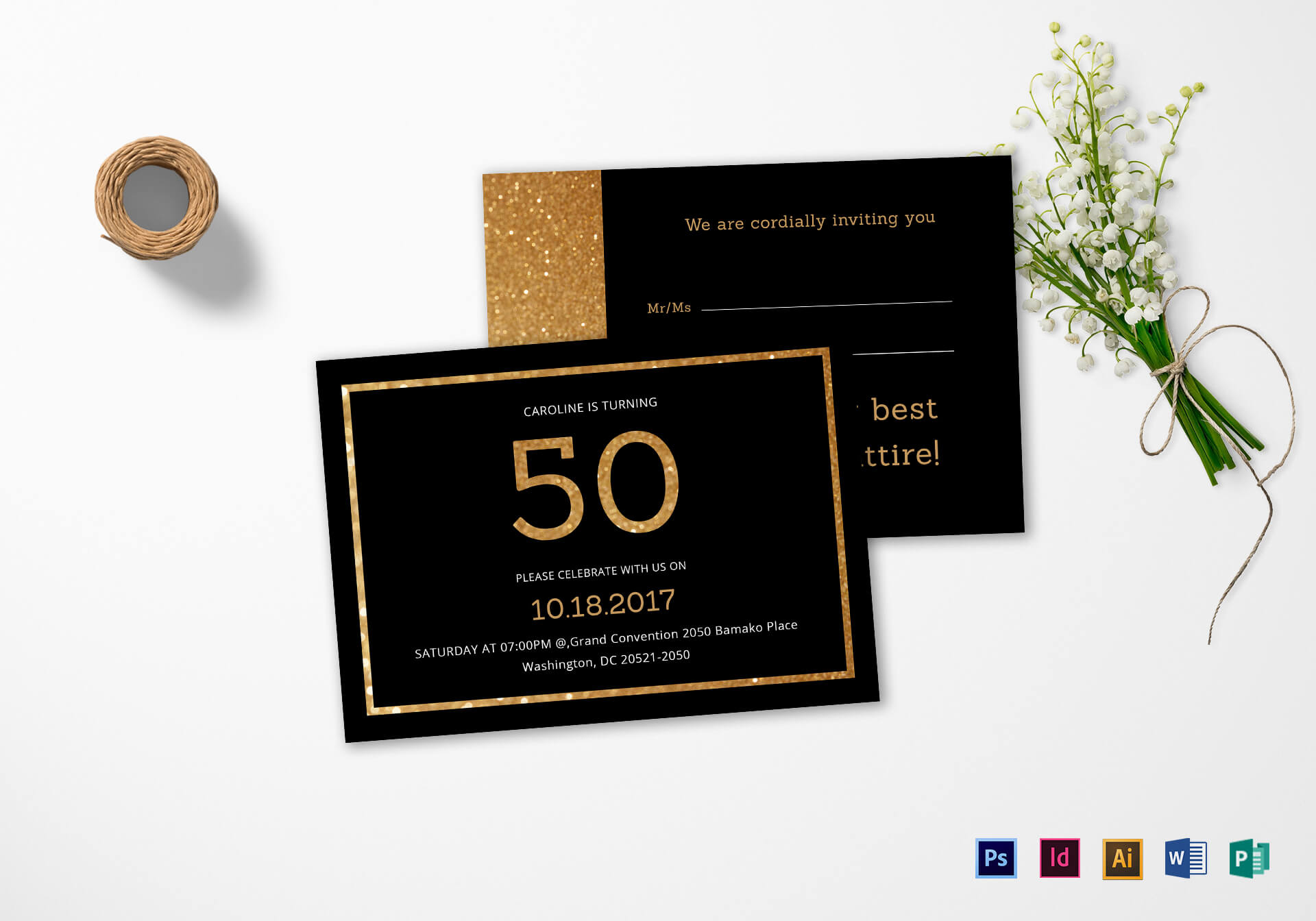 Elegant Black And Gold 50Th Birthday Invitation Template Pertaining To Birthday Card Indesign Template