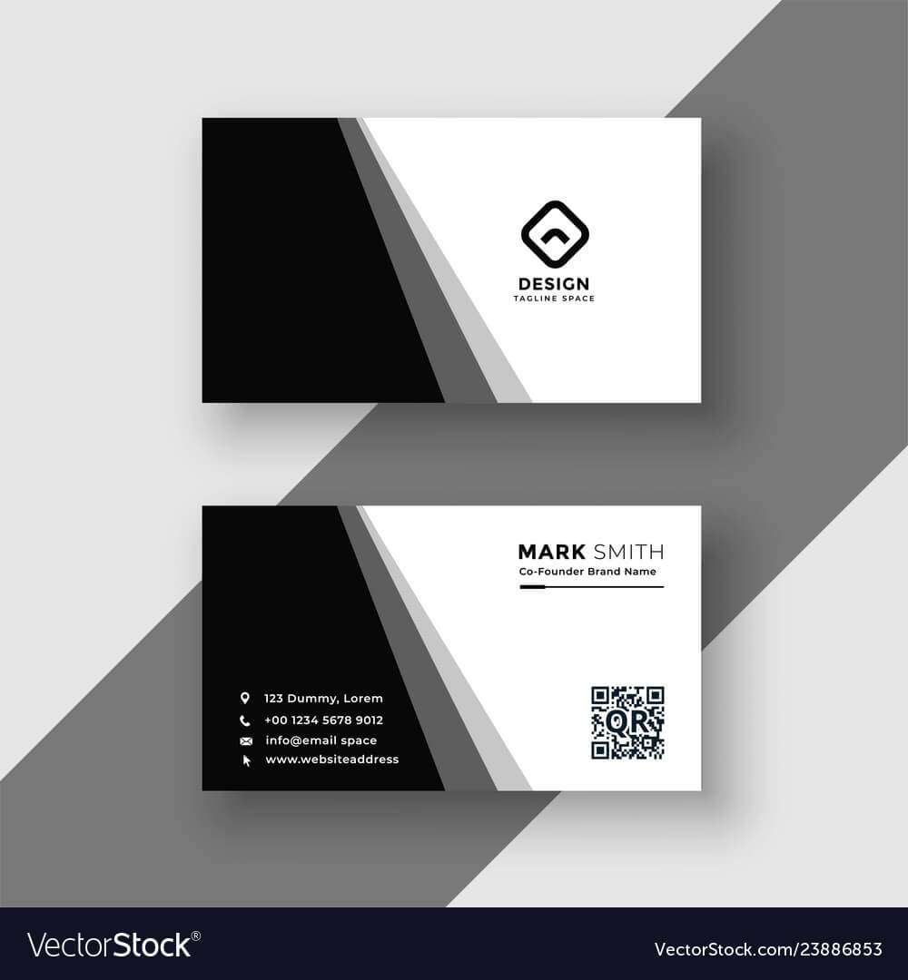 Elegant Black And White Business Card Template Throughout Visiting Card Illustrator Templates Download