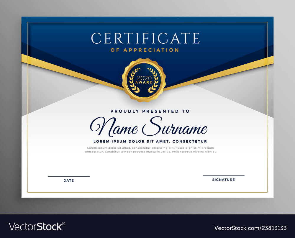 Elegant Blue And Gold Diploma Certificate Template With Regard To Elegant Certificate Templates Free