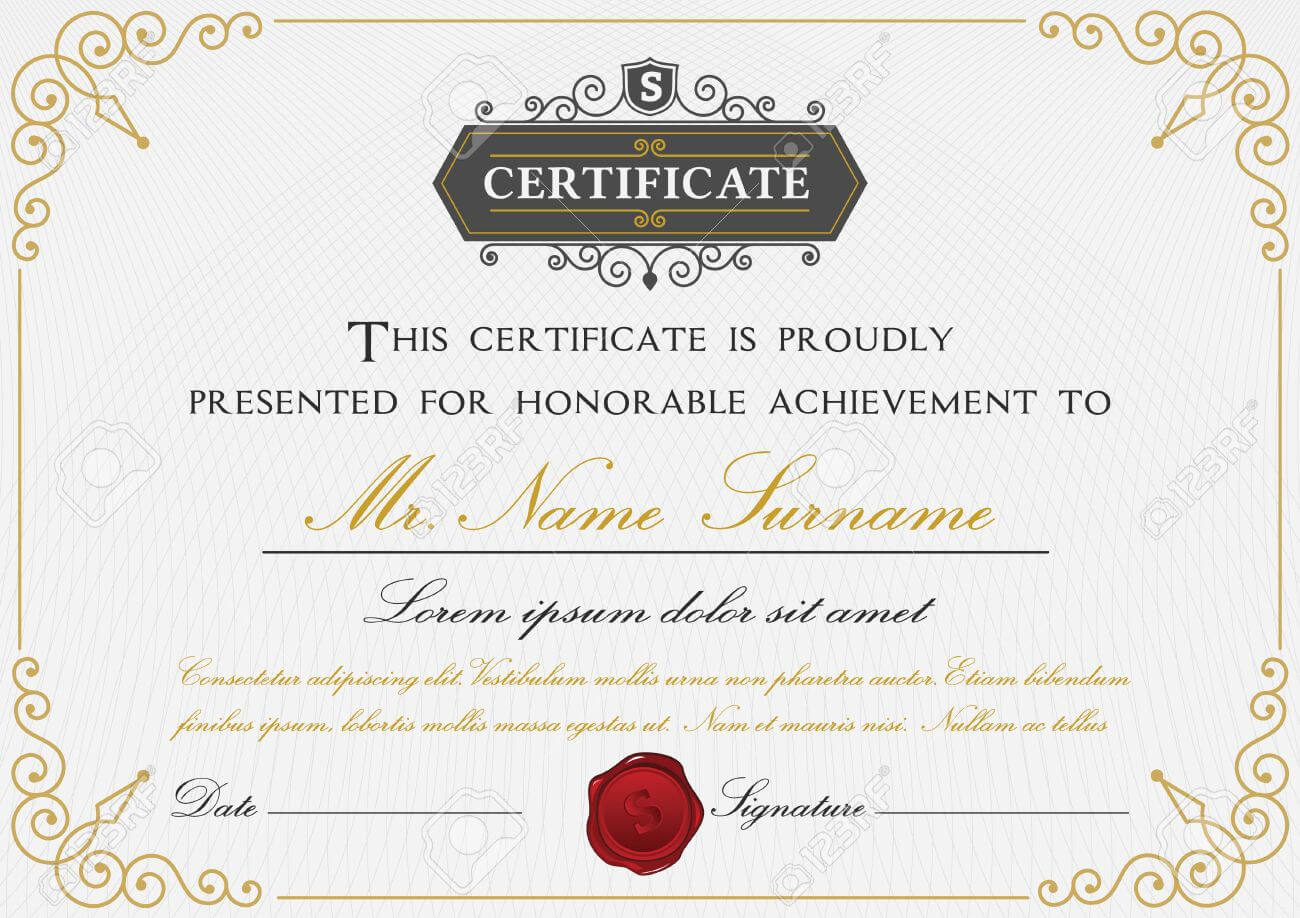 Elegant Certificate Template Design With Border, Sealing Wax.. Regarding Elegant Certificate Templates Free