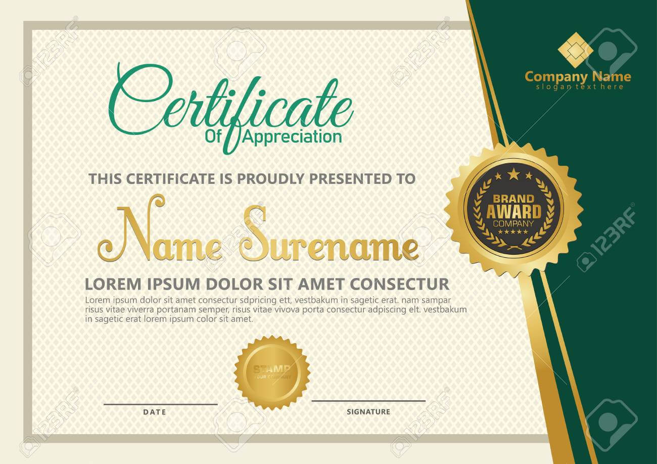 Elegant Certificate Template Vector With Luxury And Modern Pattern.. Pertaining To Elegant Certificate Templates Free