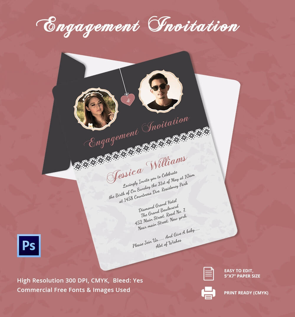 Engagement Invitation Cards Templates - Party Invitation Pertaining To Engagement Invitation Card Template
