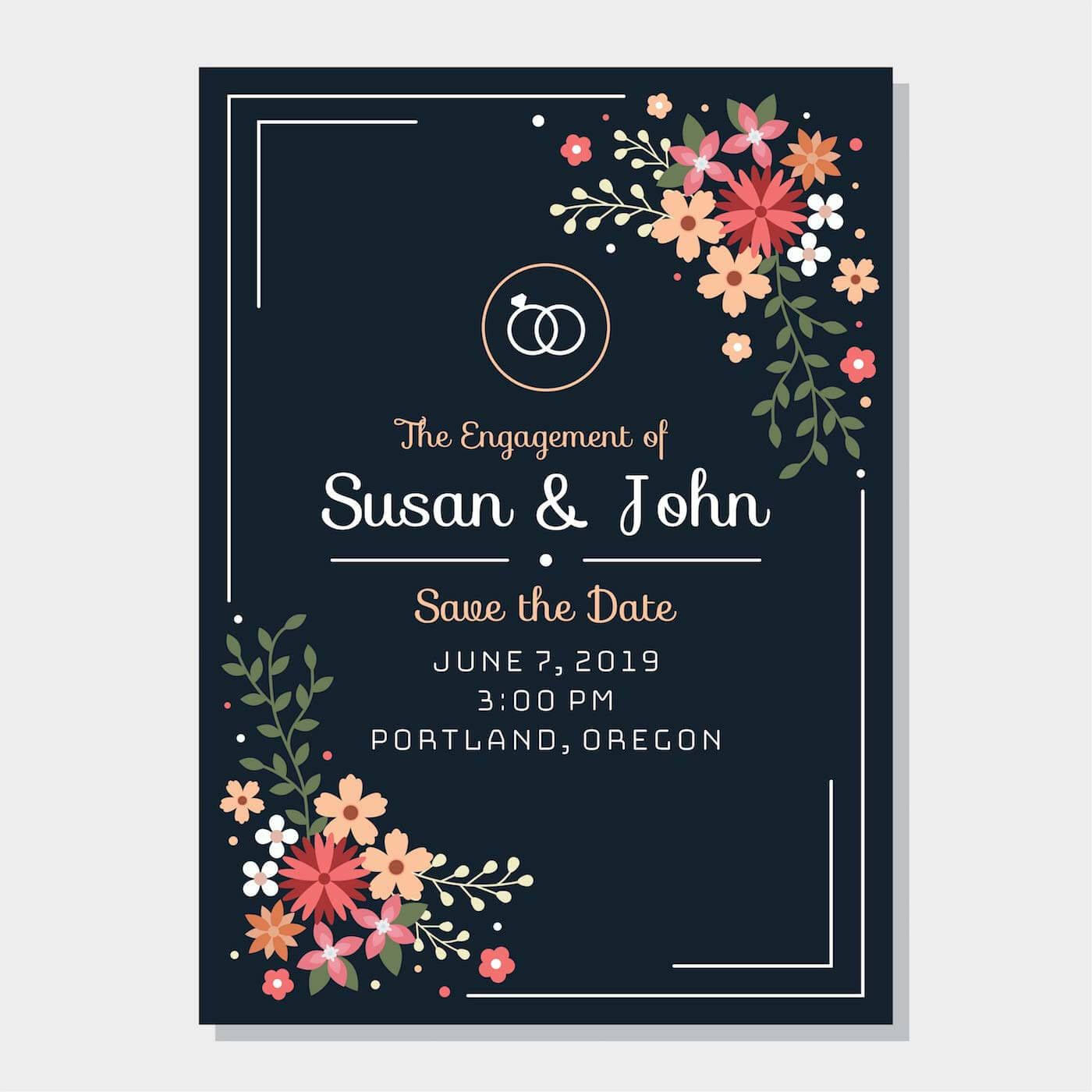 Engagement Invitation Free Vector Art - (888 Free Downloads) With Engagement Invitation Card Template