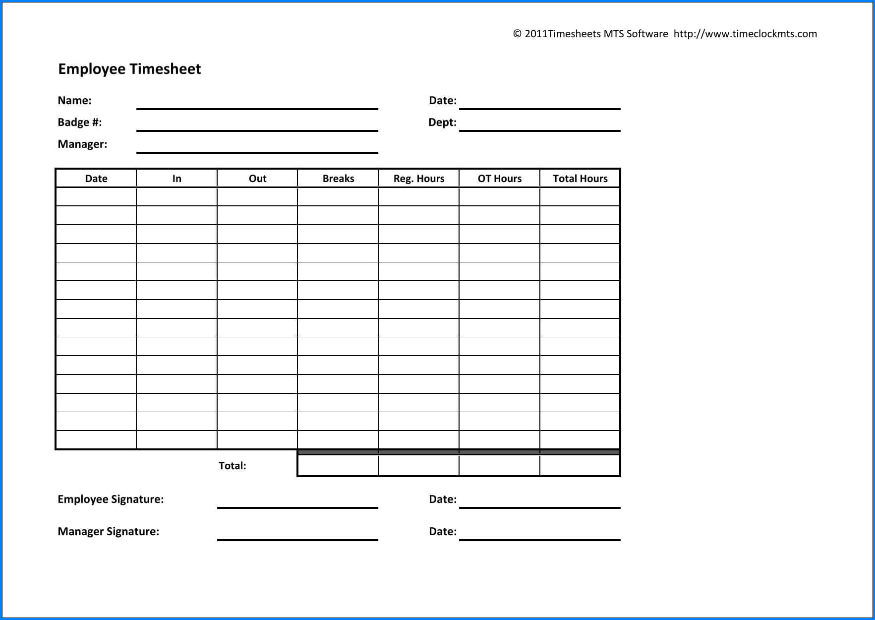 Example Of Employee Timesheet Template Spreadsheet Free For Weekly Time Card Template Free