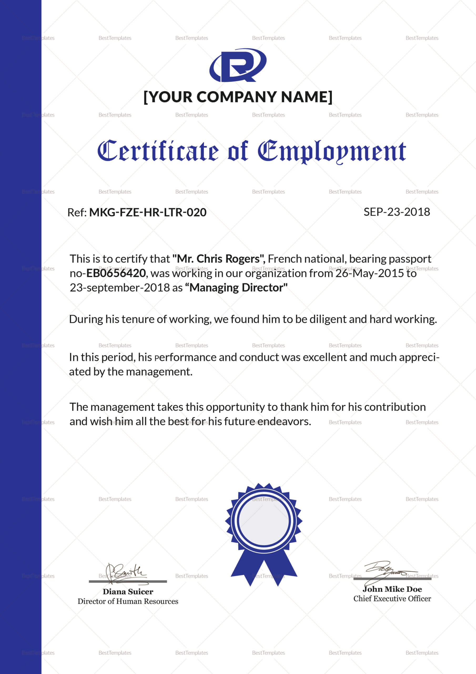 Excellent Employment Certificate Template Within Sample Certificate Employment Template