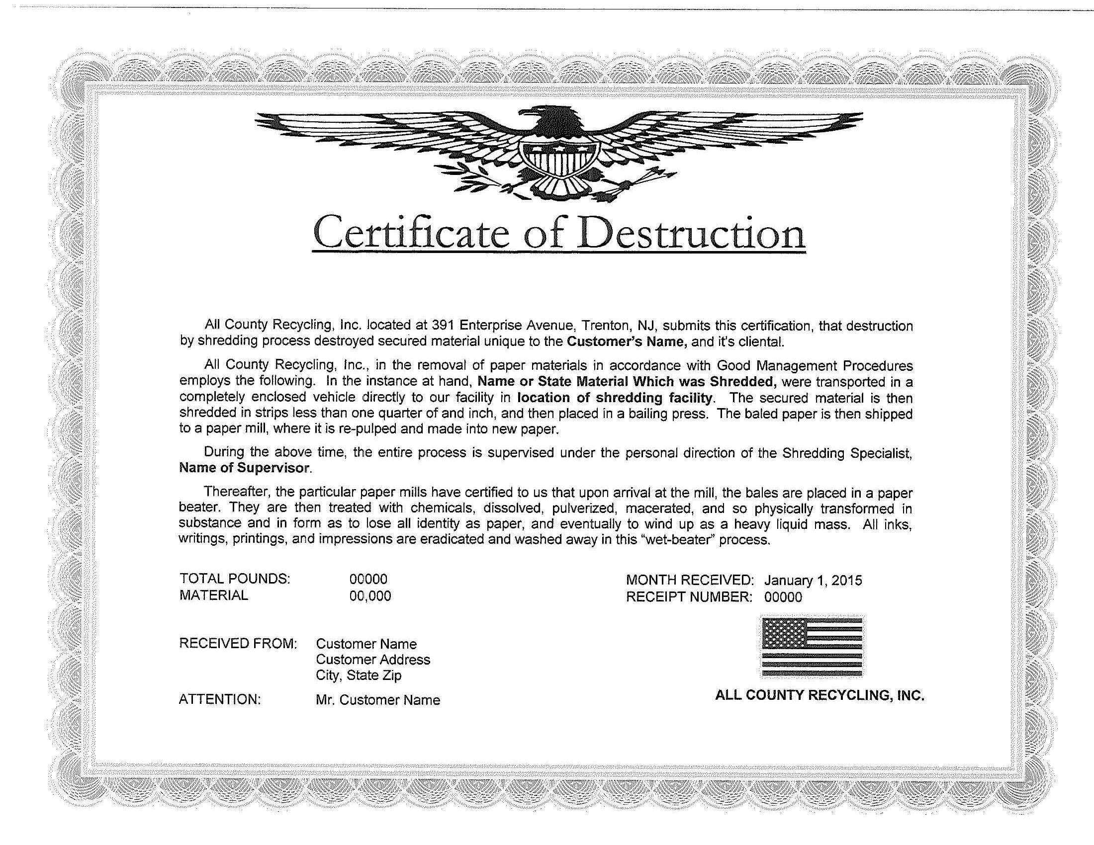 🥰5+ Free Certificate Of Destruction Sample Templates🥰 Intended For Free Certificate Of Destruction Template