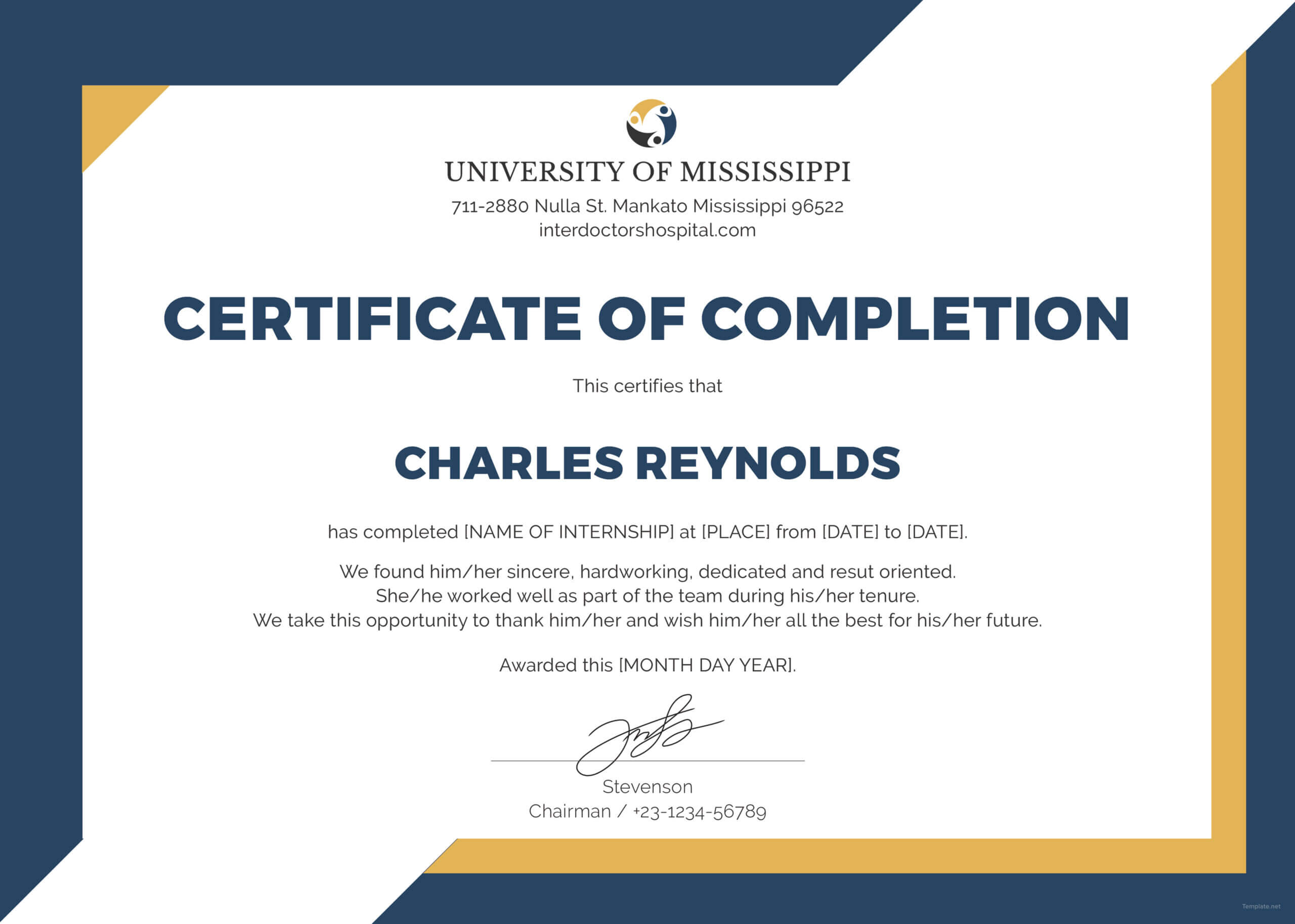 🥰free Certificate Of Completion Template Sample With Example🥰 For Construction Certificate Of Completion Template