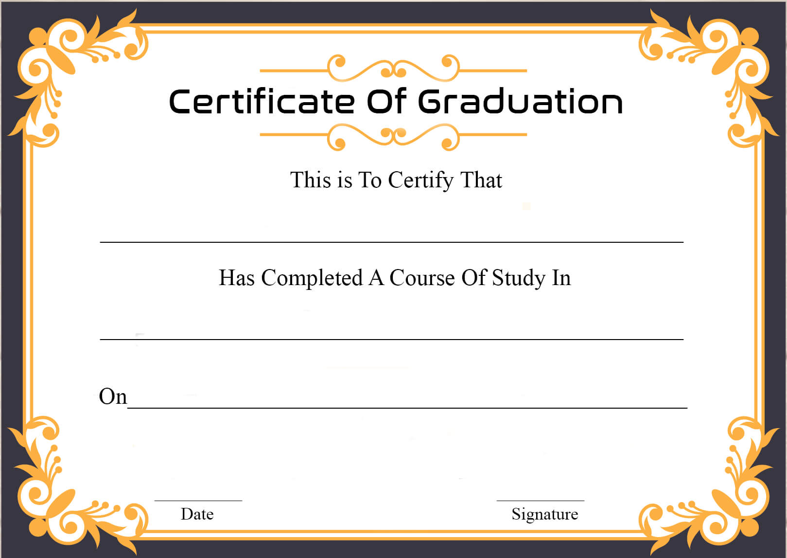 🥰free Certificate Template Of Graduation Download🥰 Intended For Free Student Certificate Templates