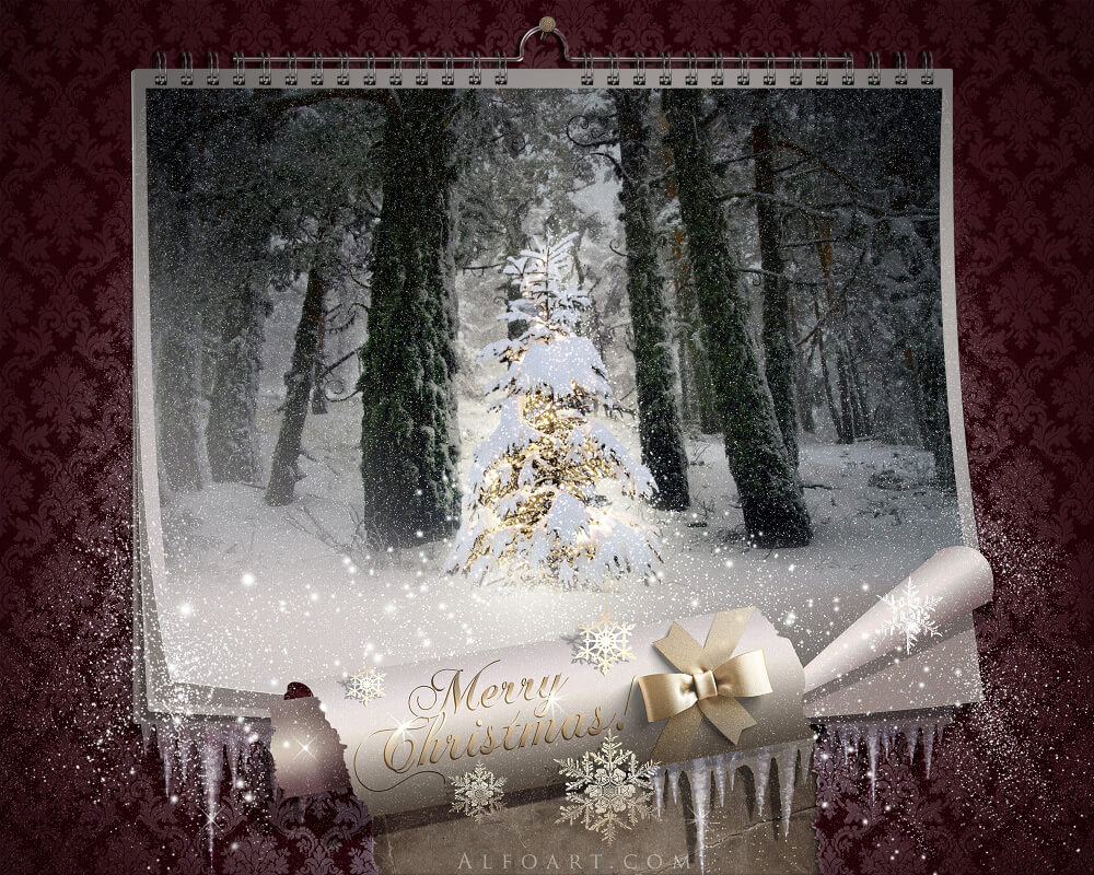 Fairy Christmas Night, Magic Wall Calendar, Falling Snow With Regard To Free Photoshop Christmas Card Templates For Photographers