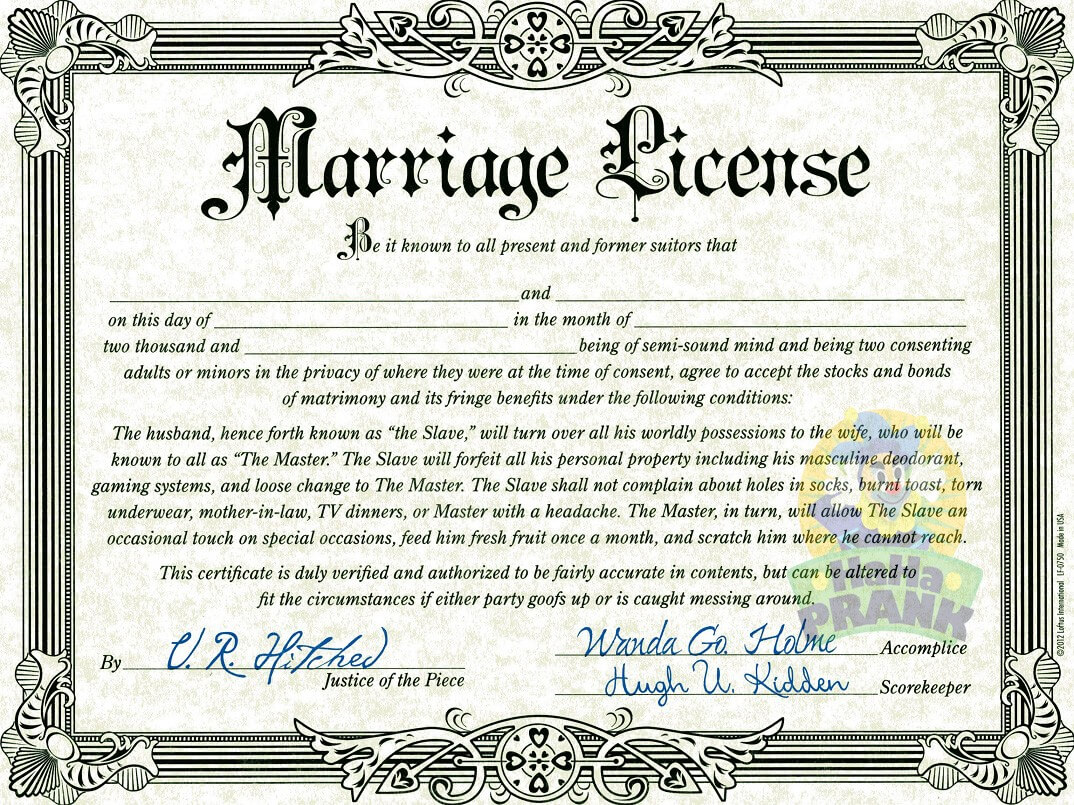 Fake Wedding License – Calep.midnightpig.co For Novelty Birth Certificate Template
