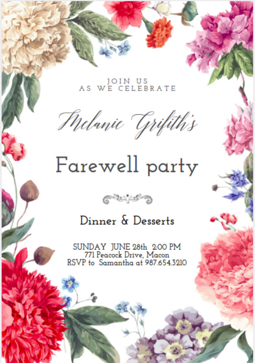 farewell invitation cards designs  yeppe pertaining to