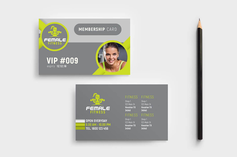 Female Fitness Membership Card Template In Psd, Ai Throughout Gym Membership Card Template