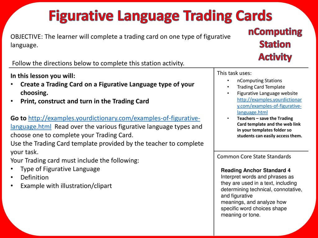 Figurative Language Trading Cards – Ppt Download Within Trading Card Template Word