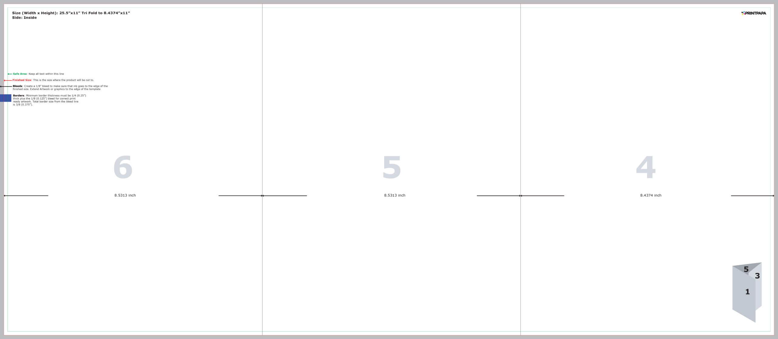 Find A Printing Template :: Printpapa Inside Three Fold Card Template